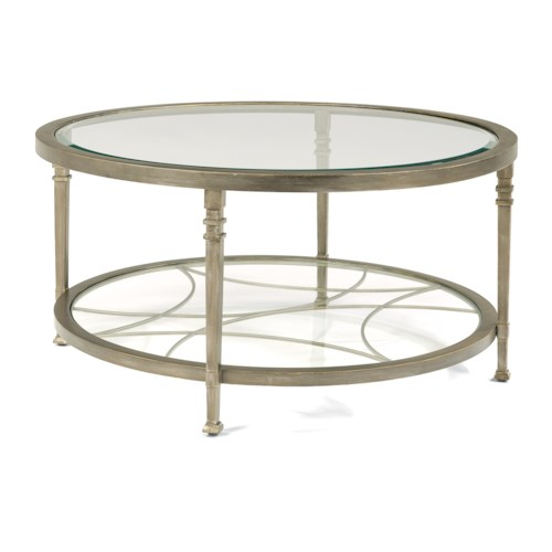 Flexsteel Atrium Transitional Round Cocktail Table with Glass Shelves and Decorative Fretwork