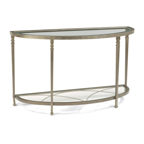 Flexsteel Atrium Transitional Sofa Table with Glass Shelves and Decorative Fretwork