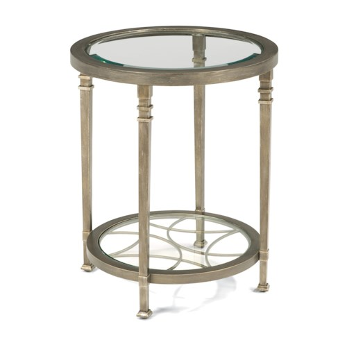 Flexsteel Atrium Transitional Chair Side Table with Glass Shelves and Decorative Fretwork