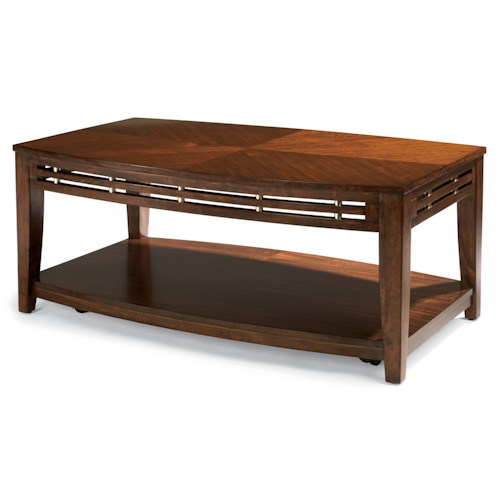 Flexsteel Bali Casual Rectangular Cocktail Table with Casters