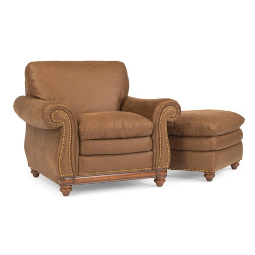 Flexsteel Belvedere Traditional Leather Chair and Ottoman with Nail Head Trim