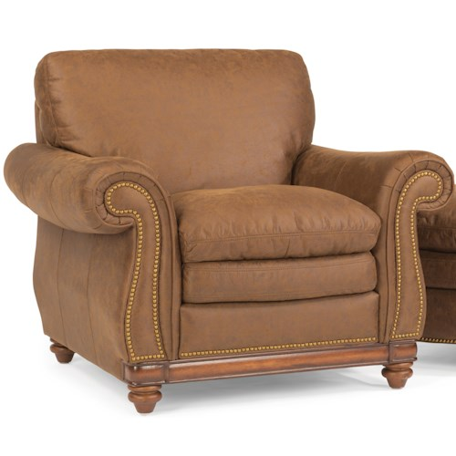 Flexsteel Belvedere Traditional Leather Chair with Nail Head Trim
