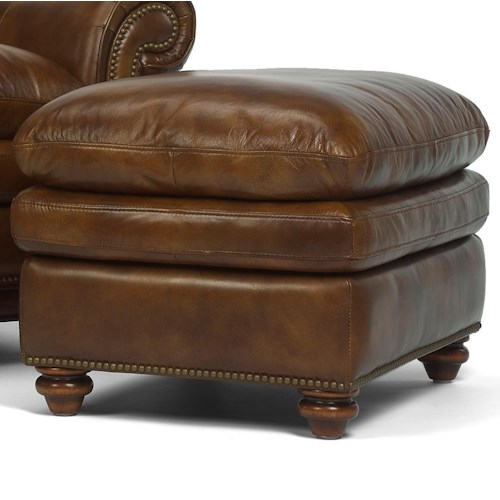 Flexsteel Latitudes - Belvedere Traditional Leather Ottoman with Nail Head Trim