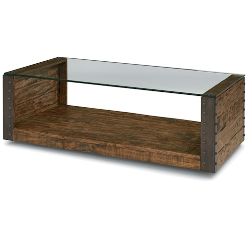 Flexsteel Bridgewater Rectangular Cocktail Table with Casters