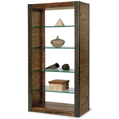 Flexsteel Bridgewater Bookshelf with 4 Glass Shelves