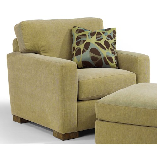 Flexsteel Bryant Contemporary Upholstered Chair with Block Wood Feet