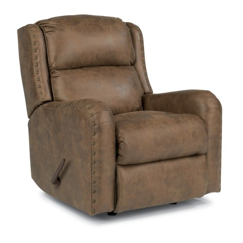 Flexsteel Cameron Rustic Rocker Recliner with Oversized Nailheads