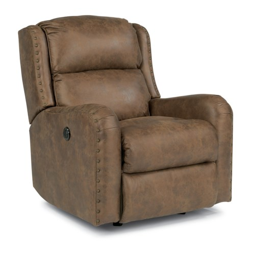 Flexsteel Cameron Rustic Power Rocker Recliner with Oversized Nailheads