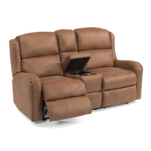 Flexsteel Cameron Rustic Reclining Loveseat with Storage Console and Oversized Nailheads