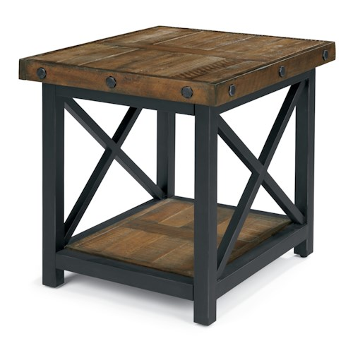 Flexsteel Carpenter Rectangle End Table with Metal Base