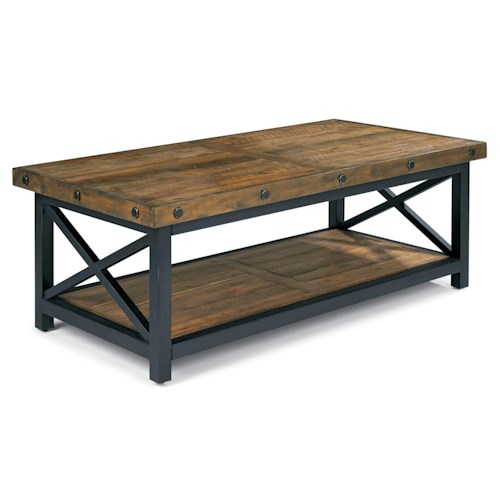 Flexsteel Carpenter Rectangle Cocktail Table with Exposed Bolt Heads