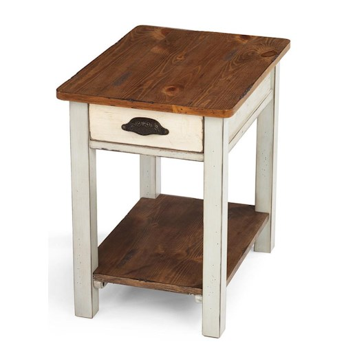 Flexsteel Chateau Two Tone Rectangular End Table with Storage