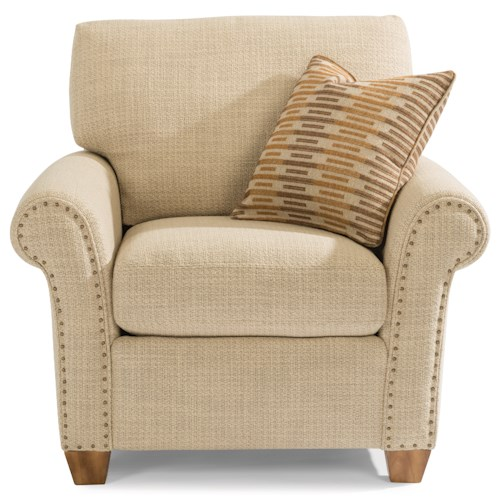 Flexsteel Christine Rolled Arm Chair with Nailhead Studs