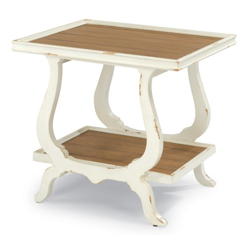 Flexsteel Cottage Grove Cottage End Table with Rough-Sawn Plank Top and One Shelf