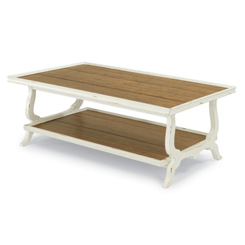 Flexsteel Cottage Grove Cottage Rectangular Cocktail Table with Rough-Sawn Plank Top and One Shelf