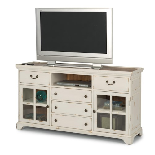 Flexsteel Cottage Grove Cottage TV Stand with Two Glass Doors and Rough-Sawn Plank Table Top