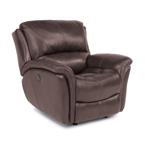 Flexsteel Dominique - -660344646 Casual Glider Recliner with Power Motion and Folded Pillow Arms