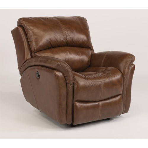 Flexsteel Latitudes - Dominique Casual Glider Recliner with Power Motion and Folded Pillow Arms
