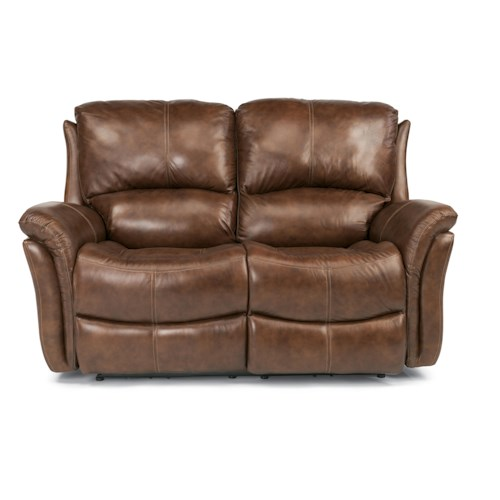 Flexsteel Latitudes - Dominique Casual Reclining Love Seat with Power Motion and Folded Pillow Arms