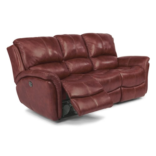 Flexsteel Dominique Casual Reclining Sofa with Power Motion and Folded Pillow Arms