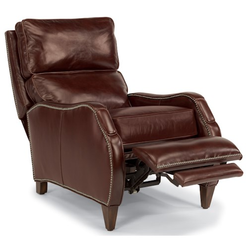 Flexsteel Drake Power High Leg Recliner with Nailhead Trim