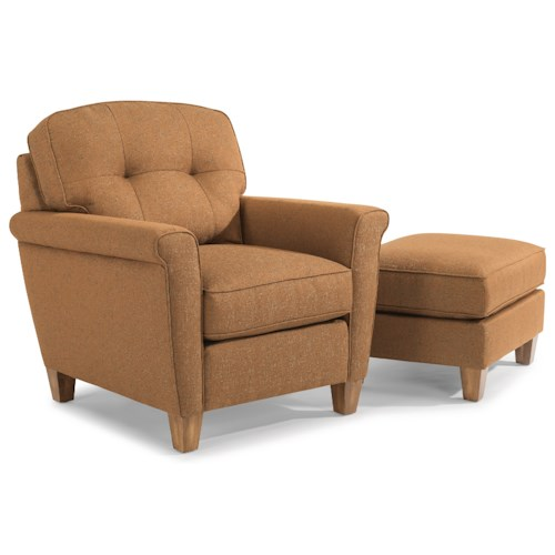 Flexsteel Elenore Mid Century Modern Chair  adn Ottoman with Tufting