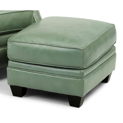Flexsteel Latitudes - Flamenco Transitional Ottoman with Tapered Wood Legs