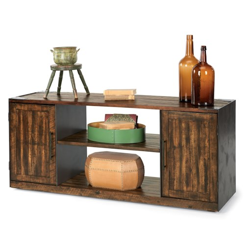 Flexsteel Flat Iron Rustic Entertainment Base with Open and Closed Storage