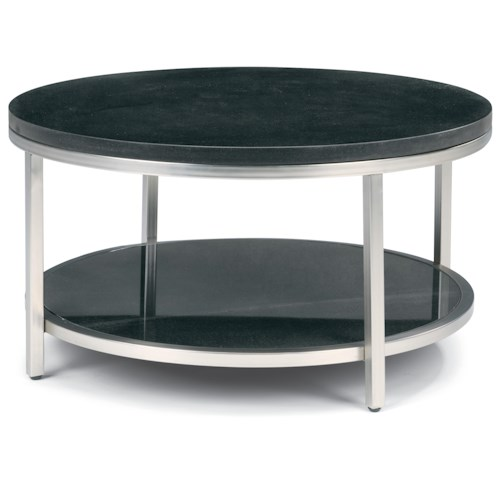 Flexsteel Galaxy Round Cocktail Table with Granite Top