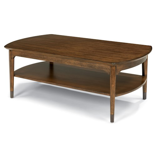 Flexsteel Gemini Mid Century Rectangular Cocktail Table with Aged Metal Leg Caps
