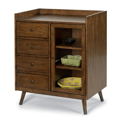 Flexsteel Gemini Mid Century Accent Chest with Glass Door and Two Adjustable Shelves