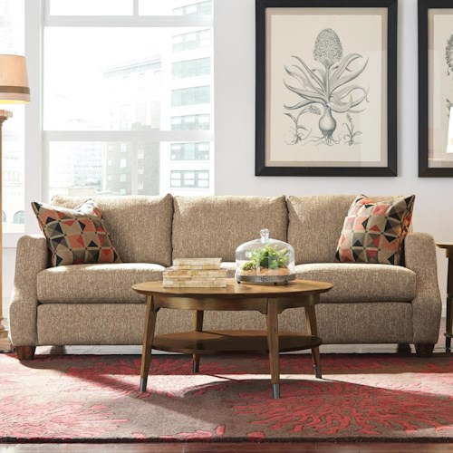 Flexsteel Grayson Contemporary Sofa with Modern Scooped Track Arms