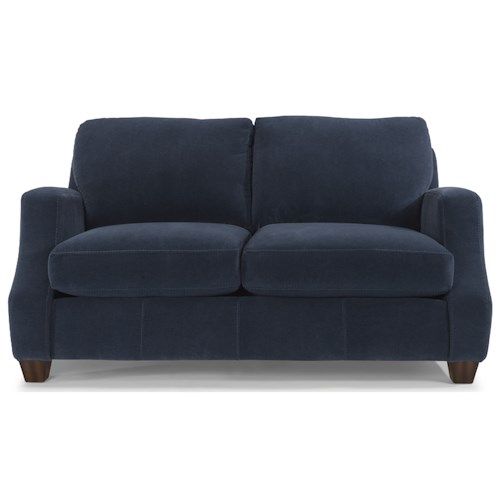 Flexsteel Grayson Contemporary Loveseat with Modern Scooped Track Arms
