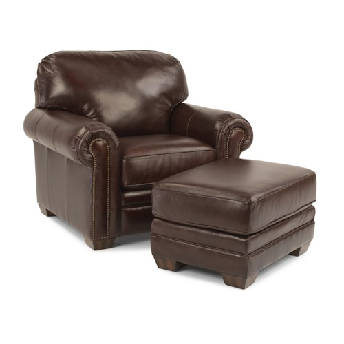Flexsteel Harrison Upholstered Chair and Ottoman