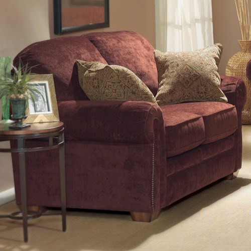 Flexsteel Harrison Love Seat with Nailheads