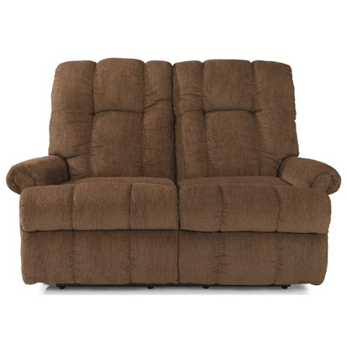 Flexsteel Hercules Casual Power Reclining Love Seat with Rolled Arms