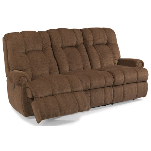 Flexsteel Hercules Casual Power Reclining Sofa with Rolled Arms