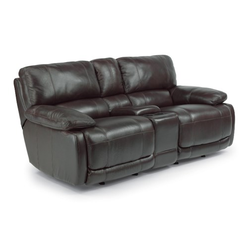 Flexsteel Hermosa Rocking Reclining Love Seat with Console