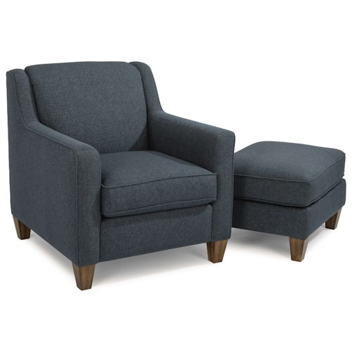 Flexsteel Holly Contemporary Chair And Ottoman With Track