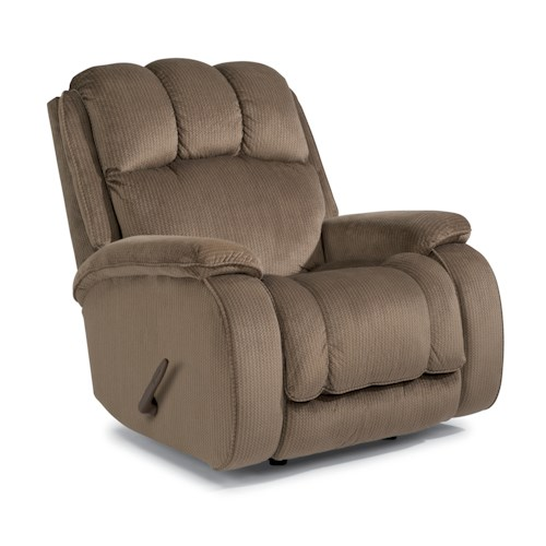 Flexsteel Huron Casual Rocking Recliner with Plush Padded Arms and Headrest