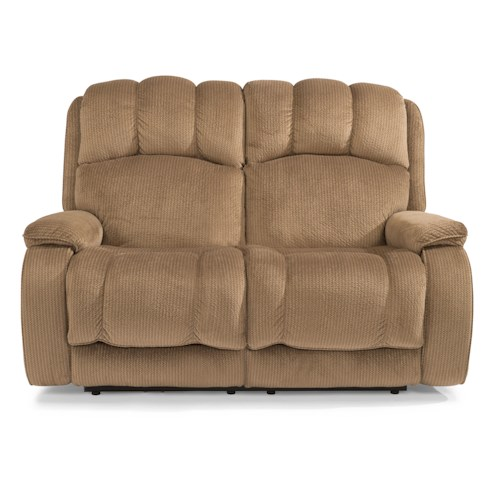 Flexsteel Huron Casual Power Reclining Loveseat with Plush Padded Arms and Headrest