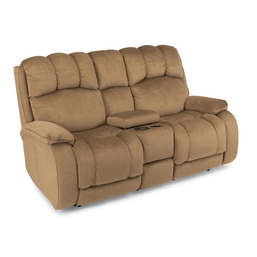 Flexsteel Huron Casual Power Reclining Loveseat with Plush Padded Headrest and Storage Console