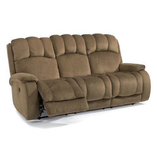 Flexsteel Huron Casual Reclining Sofa with Plush Padded Arms and Headrest