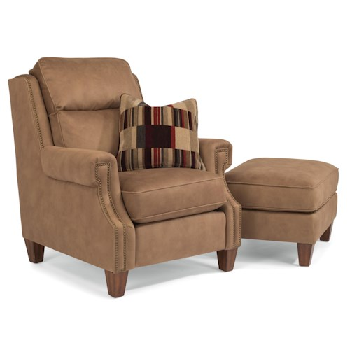 Flexsteel Judson Transitional Chair and Ottoman with Plush-Channeled Back Cushions and Nailhead Border