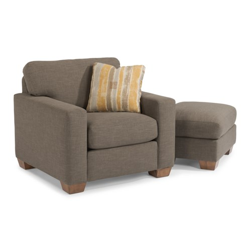 Flexsteel Kennicot Contemporary Casual Chair and Ottoman Set