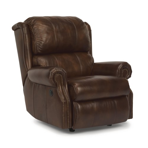 Flexsteel Latitudes - Comfort Zone Traditional Recliner w/ Power and Nailhead Trim