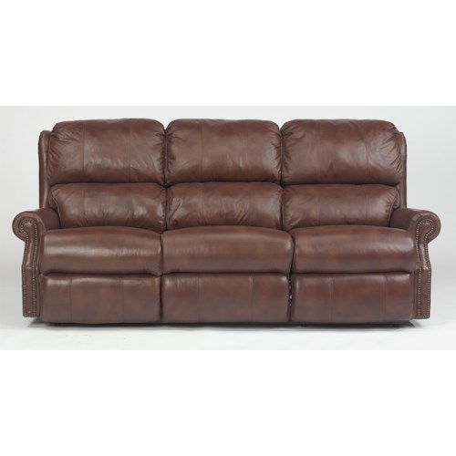Flexsteel Latitudes - Comfort Zone Traditional Power Reclining Sofa with Nailhead Trim
