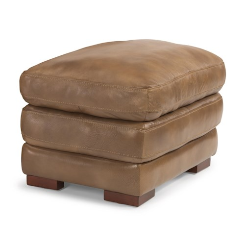 Flexsteel Latitudes - Dylan Double Top Leather Ottoman