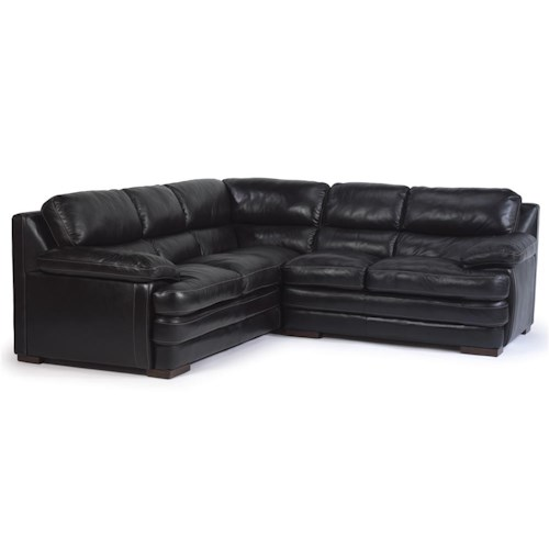 Flexsteel Latitudes - Dylan Leather Sectional with Armless Chair