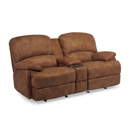 Flexsteel Latitudes - Dylan Power Reclining Love Seat with Center Console